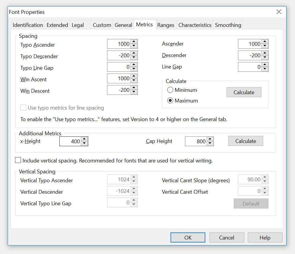 Setting metrics and font properties - Metrics tab