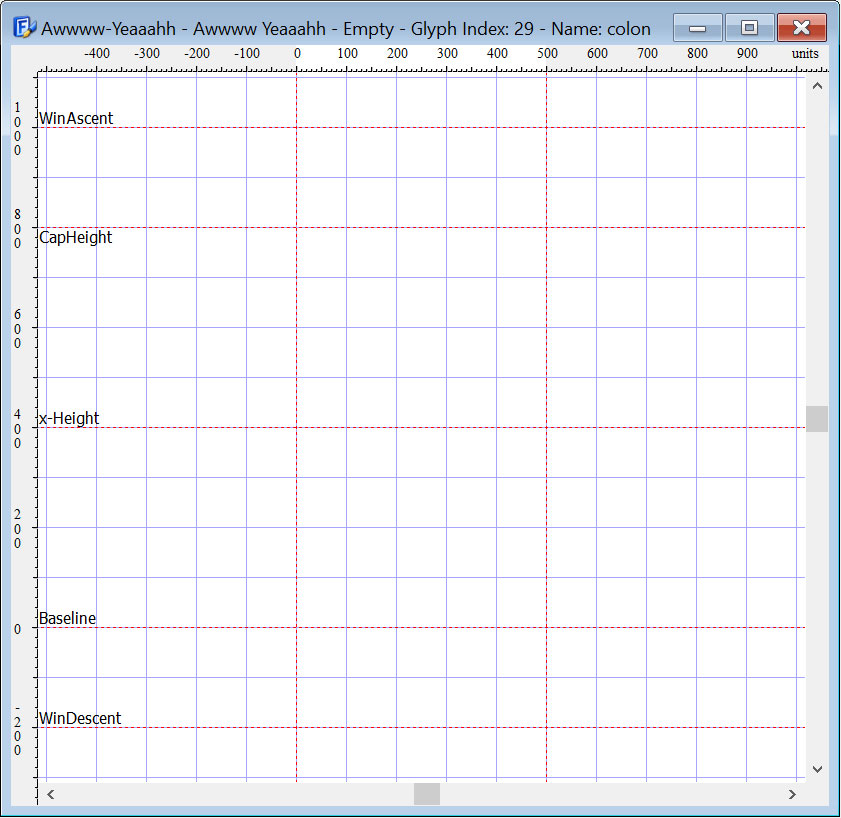 Basic building grid for a new font