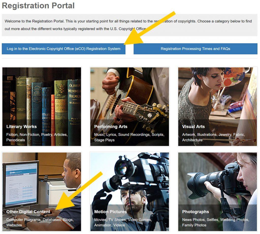 Registering Copyright: Registration Portal