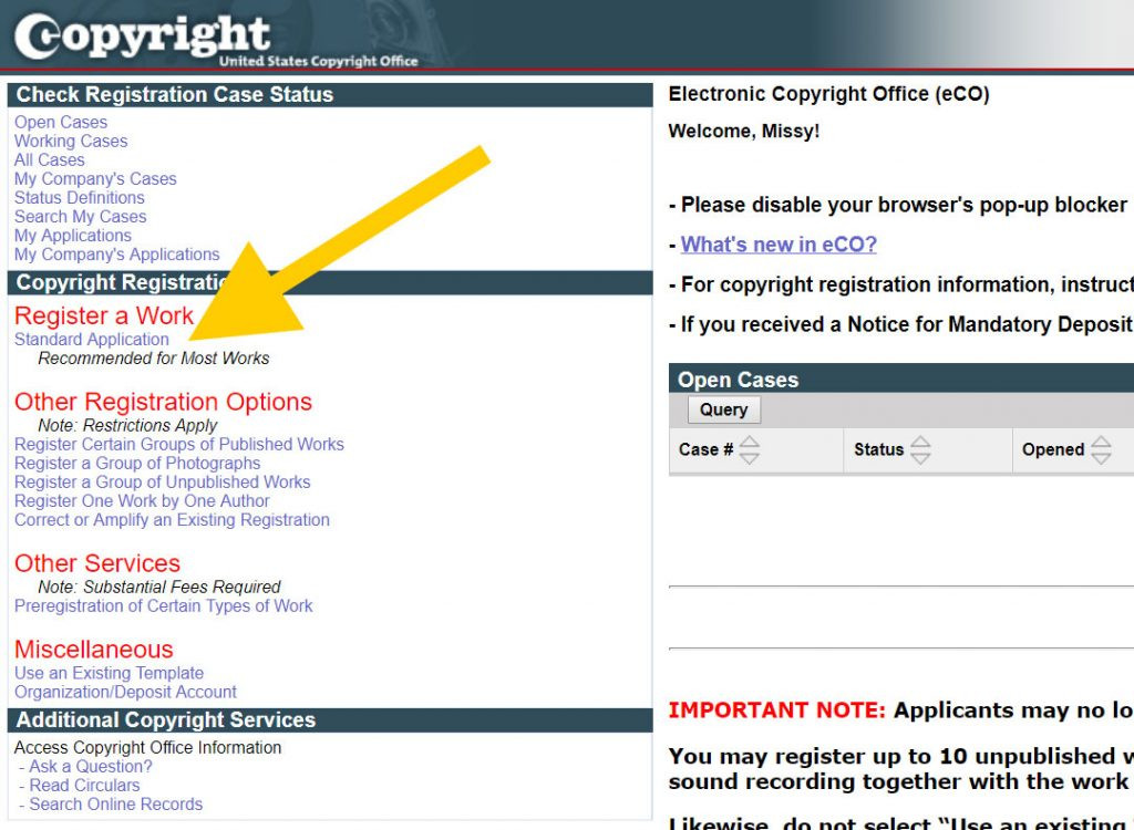 Registering Copyright: The Standard Application