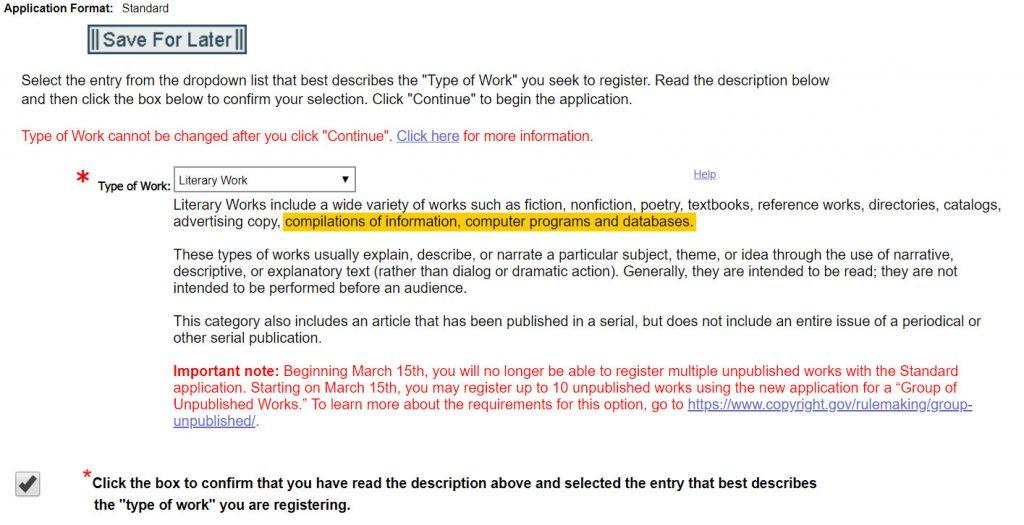Registering Copyright: Type of Work