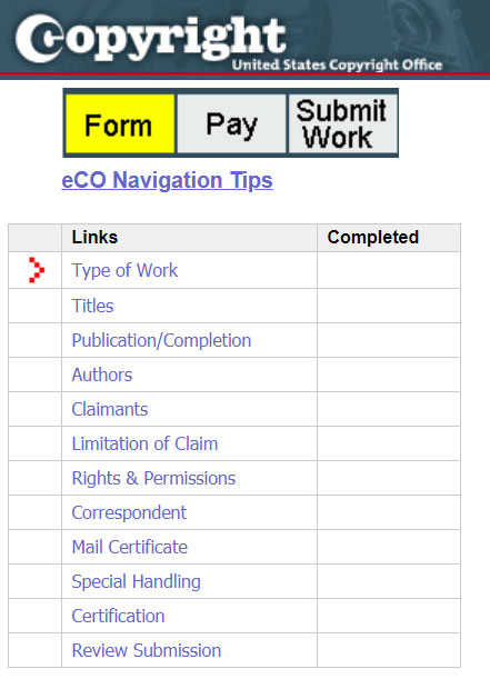 Registering Copyright: The Application Sidebar