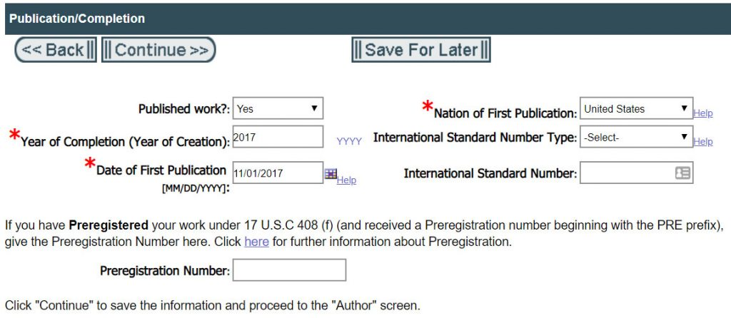 Registering Copyright: Publication Date