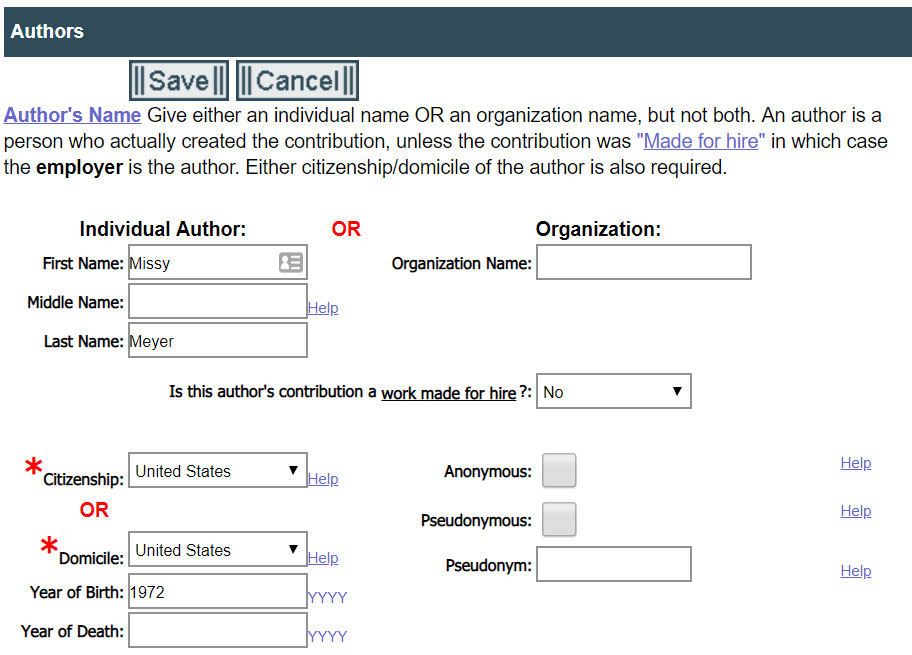 Registering Copyright: Author