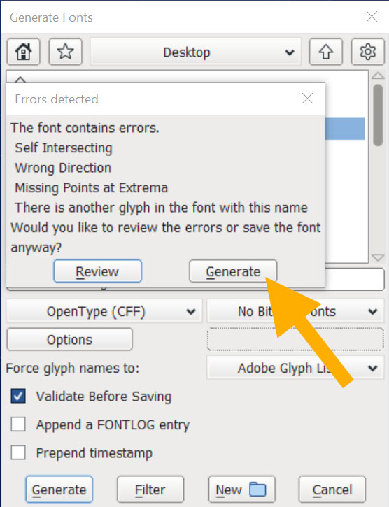 FontForge - validatiion errors while generating a font file.