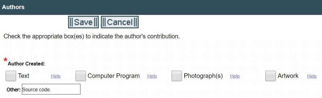 Registering Copyright: Author's Contribution