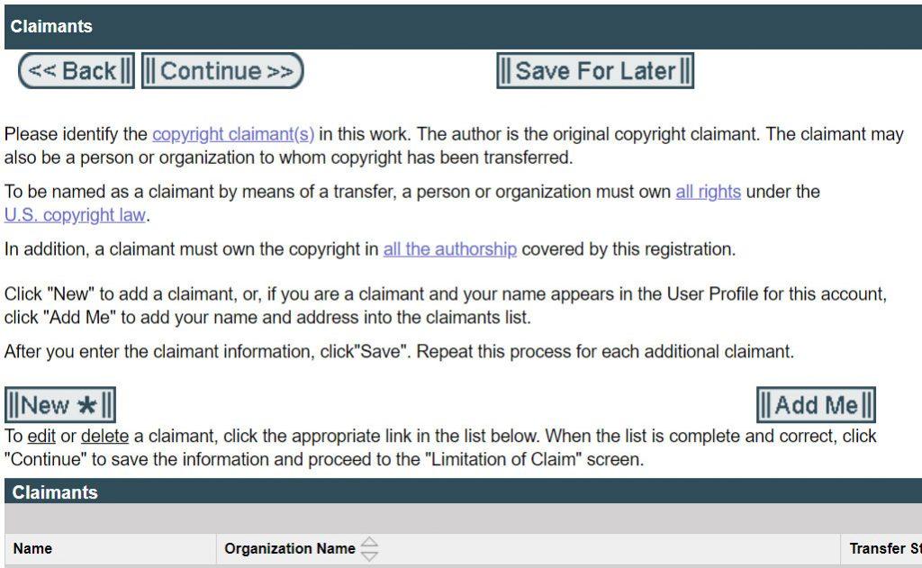 Registering Copyright: Claimants