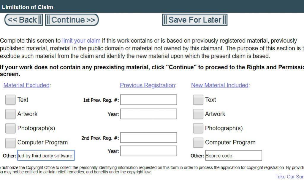 Registering Copyright: Limitation of Claim
