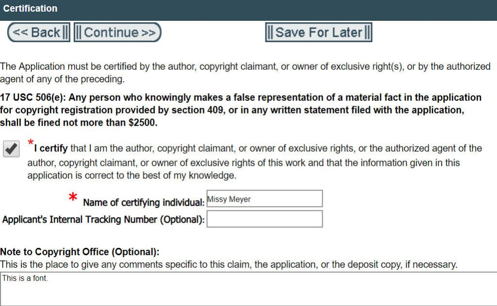 Registering Copyright: Certification