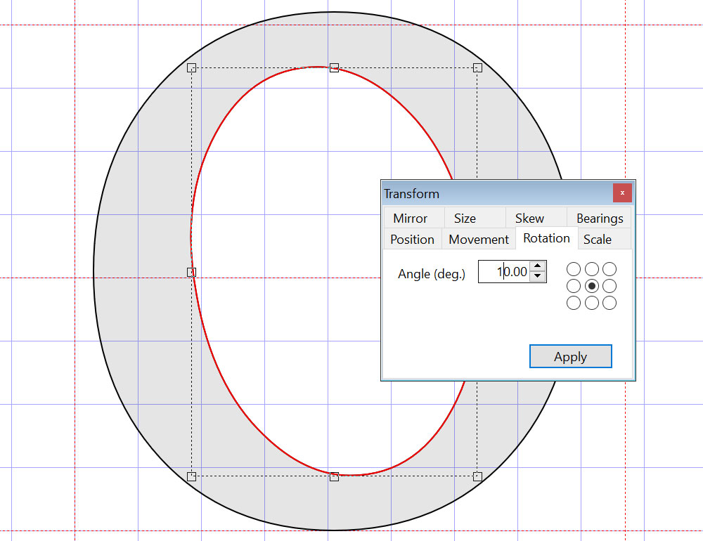 Optional counter-tilt in the letter O