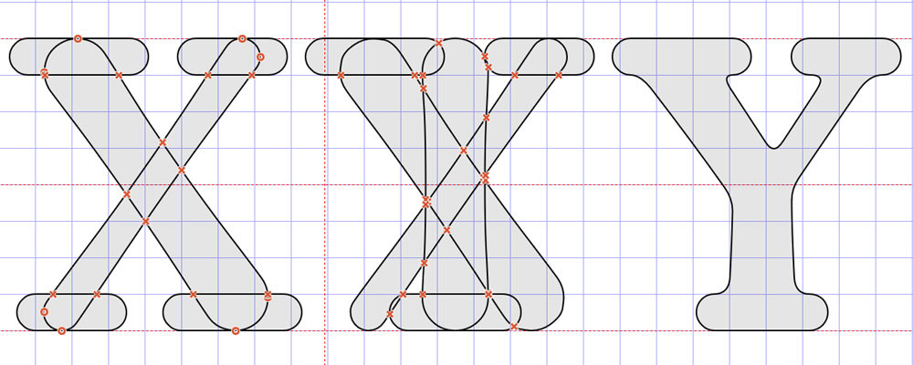 Angled for an X, then combined for a Y