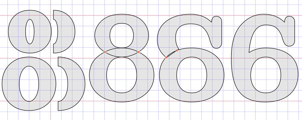 Circles for the 8 and 6