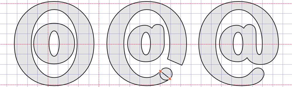 Creating the at sign from small and large letters O