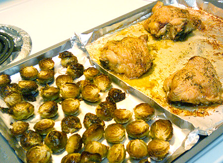 chicken thighs and Brussels sprouts