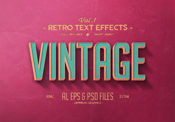 Vintage/retro text effects package sample