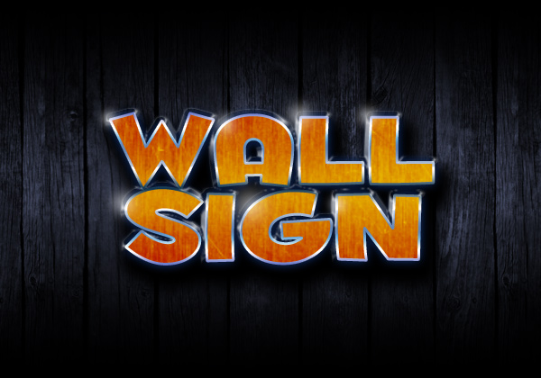 A 3-D style sign on the wall.