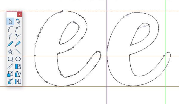 Script font - refining points