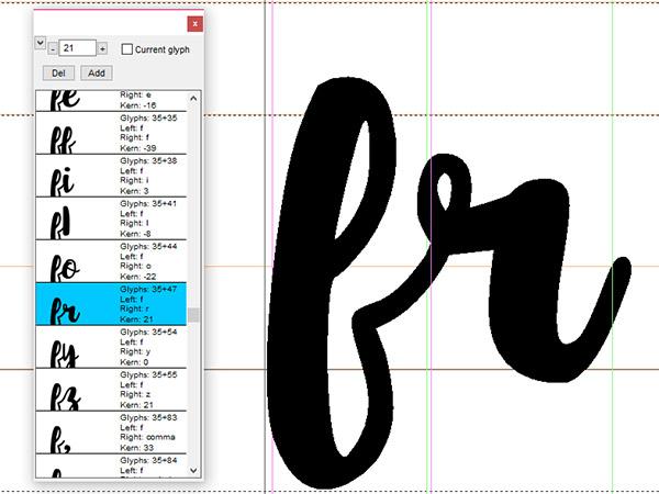 Script font - kerning pairs