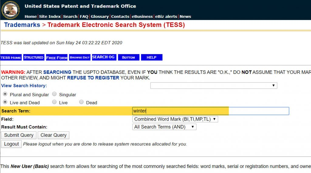 TESS trademark search system: the Basic Search form