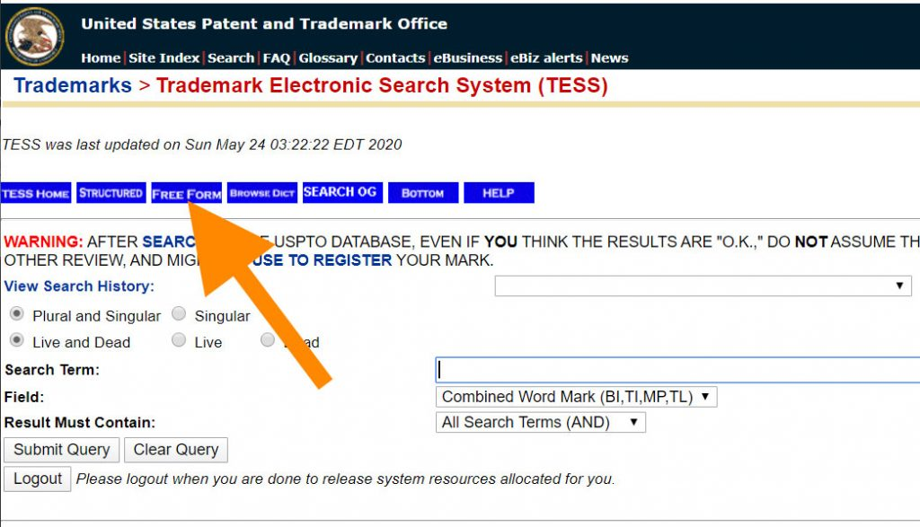 TESS trademark search system: the Free Form button