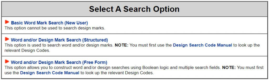 TESS trademark search system: initial search options