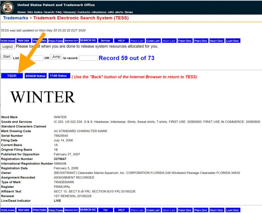 TESS trademark search system: linking to the permanent TSDR page