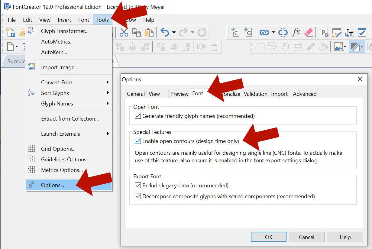 Single-Line Font Basics: Enable Open Contours