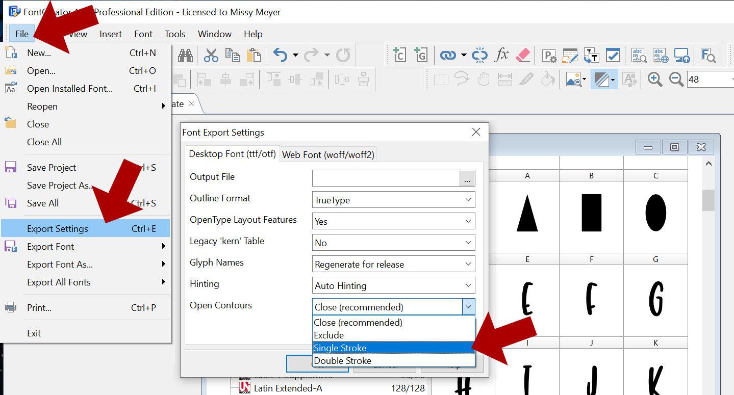 Single-Line Font Basics: Adjust Export Settings