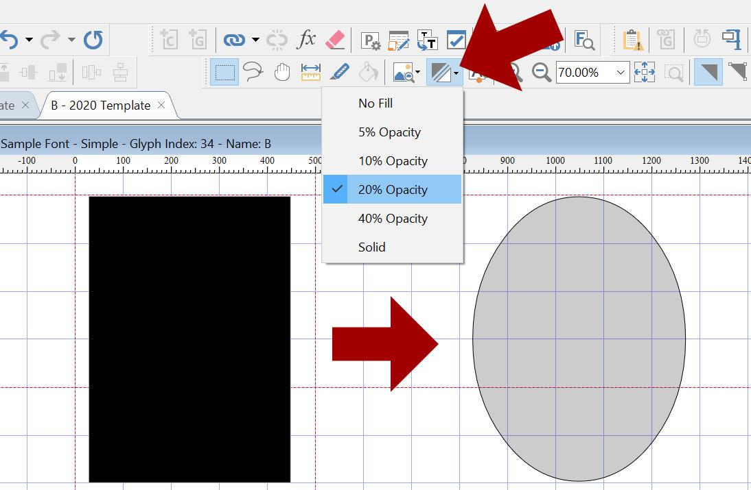 Single-Line Font Basics: Adjust Fill Opacity