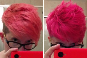 Faded salmon, then bright pink again.