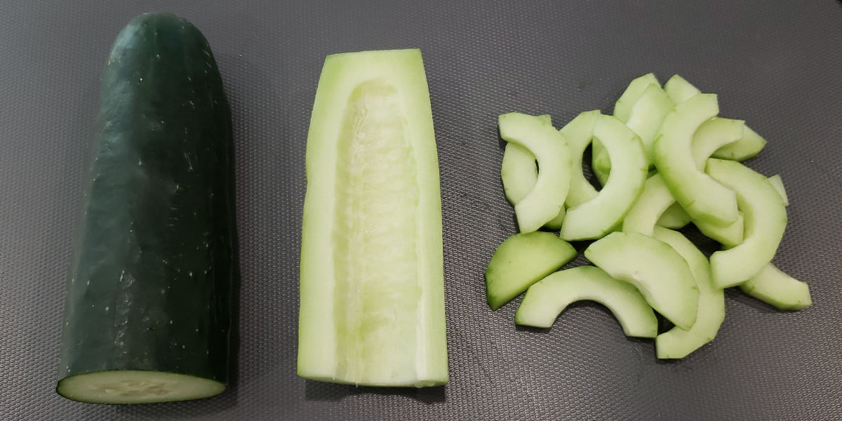 Refrigerator pickles: seeded and sliced salad cucumbers