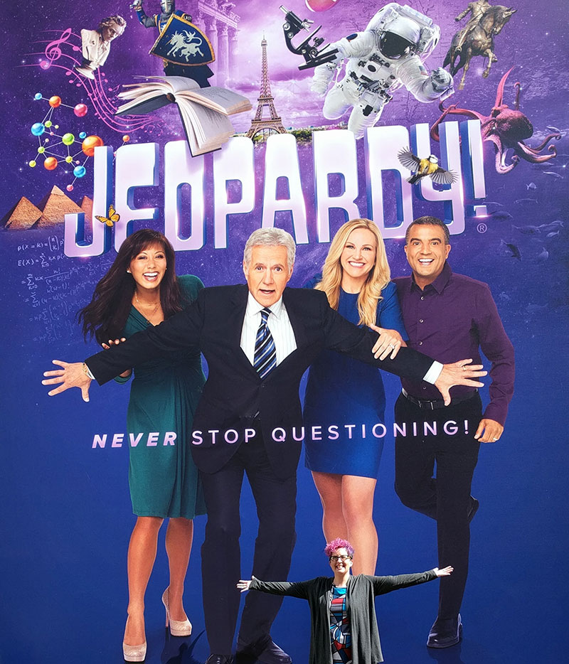 Outside the Jeopardy! studio with giant Alex and the giant Clue Crew!