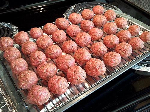 Meatballs on an oven rack