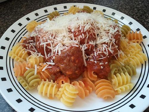Meatballs on gluten-free pasta