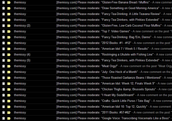 Three days' worth of spam comments in my trash folder